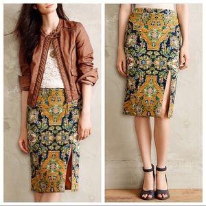 Anthropologie Maeve Yellow Tapestry Skirt XS S